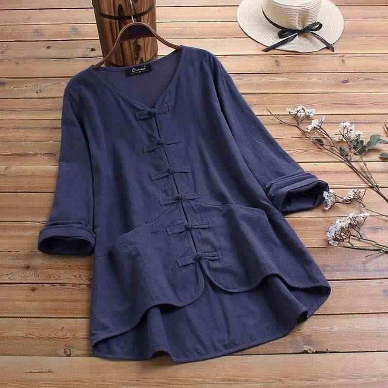 ZANZEA 여름 빈티지 블라우스 여성 3/4 슬리브 단추 셔츠면 리넨 탑 여성 캐주얼 V 넥 블라우스 Femininas Chemise