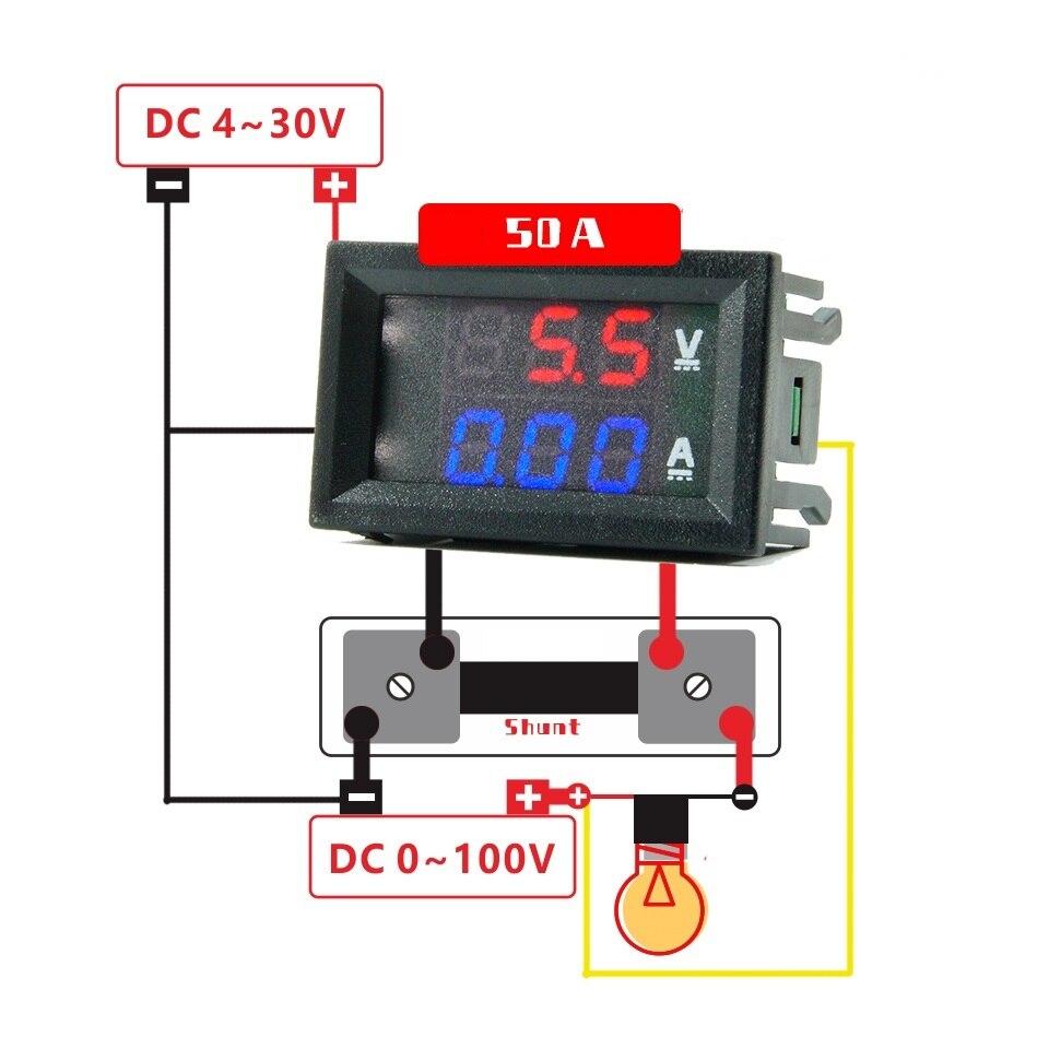 2pcs(DC 100v 50A Ammeter Voltmeter + 50A 75mV Shunt)Car Amp Volt Voltage LED Display Panel Meter Tester 2P Cable
