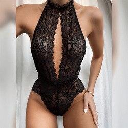 Preto laço corpo ternos feminino lingerie erótica halter macacão sexy ursinhos bodysuits plus size roupa interior trajes femininos S-3XL