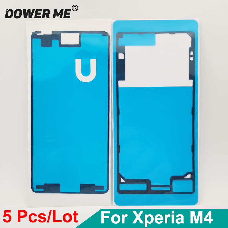 Dower Me 5Sets Front LCD Display Screen + Back Cover Waterproof Adhesive Tape Sticker For SONY Xperia M4 Aqua E2303 E2333 E2353