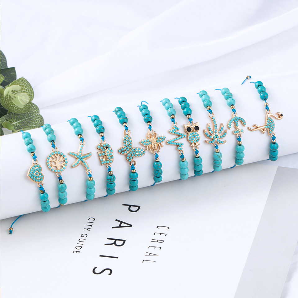 Bohemian Blue Acrylic Beads Ankle Bracelet for Women Leg Chain Coconut Tree Flamingo Anchor Electrocardiogram Owl Animal Anklet 5