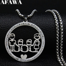 2019 Fashion Family Dad Mum Two Son Crystal Stainless Steel Silver Color Women Necklace Chain Jewelry collares mujer N19437 2019 family stainless steel necklace women jewlery silver color dad mum and son statement necklace jewelry gargantilla n18018