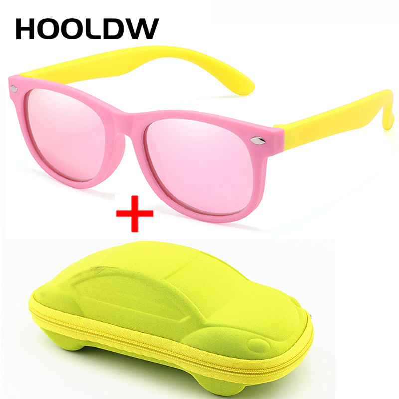 HOOLDW 2020 Cool Polarized Kids Sun Glasses TR90 Girls Boys Colorful Lens Sunglasses Silicone Safety Baby Children UV400 Eyewear