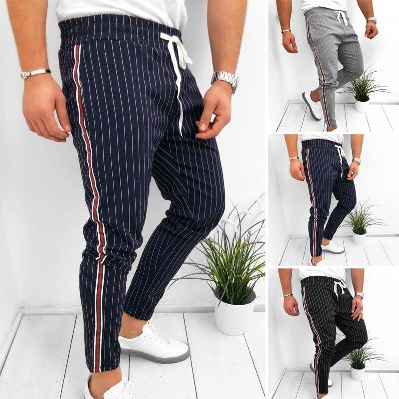 Hot Sale Men Striped Casual Pants Fashion Trousers Adjustable Drawstring Sweat Pants Trousers CXZ