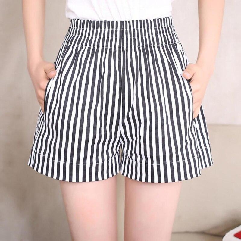 Shorts Women Fashion Stripe Bandage Elastic Shorts Korte Broek Pantalones Cortos Mujer Spodenki Damskie Short Feminino Szorty