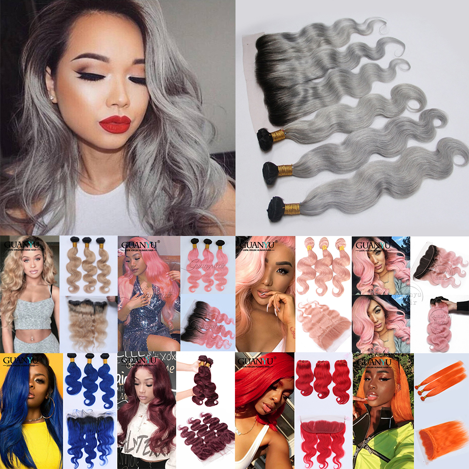 Grey Hair Bundles with Frontal Closure 13X4 Ear to Ear Brazilian Remy Ombre Honey Blonde Pink Red Blue 3 Bundles Hair Weave
