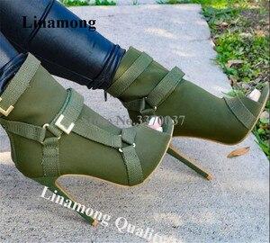 Image 1 - Neue Design Frauen Mode Peep Toe Wildleder Leder Stiletto Ferse Kurze Stiefel Schnallen Riemen Schwarz Armee Grün Hohe Ferse Knöchel booties