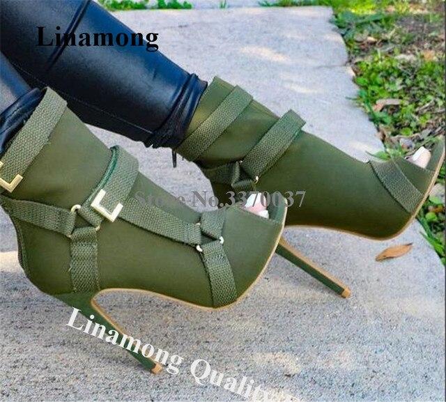 Neue Design Frauen Mode Peep Toe Wildleder Leder Stiletto Ferse Kurze Stiefel Schnallen Riemen Schwarz Armee Grün Hohe Ferse Knöchel booties