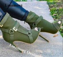Nieuwe Ontwerp Vrouwen Mode Peep Toe Suède Stiletto Hak Korte Laarzen Gespen Riem Zwart Legergroen Hoge Hak Enkel booties