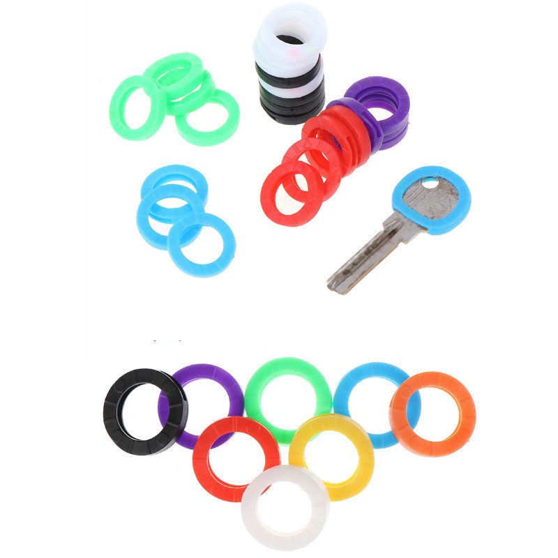 1/24/32pcs Bright Colors Hollow Multi Color Rubber Soft Keys Locks Cap Key Covers Keyring Elastic Case Round Soft Silicone