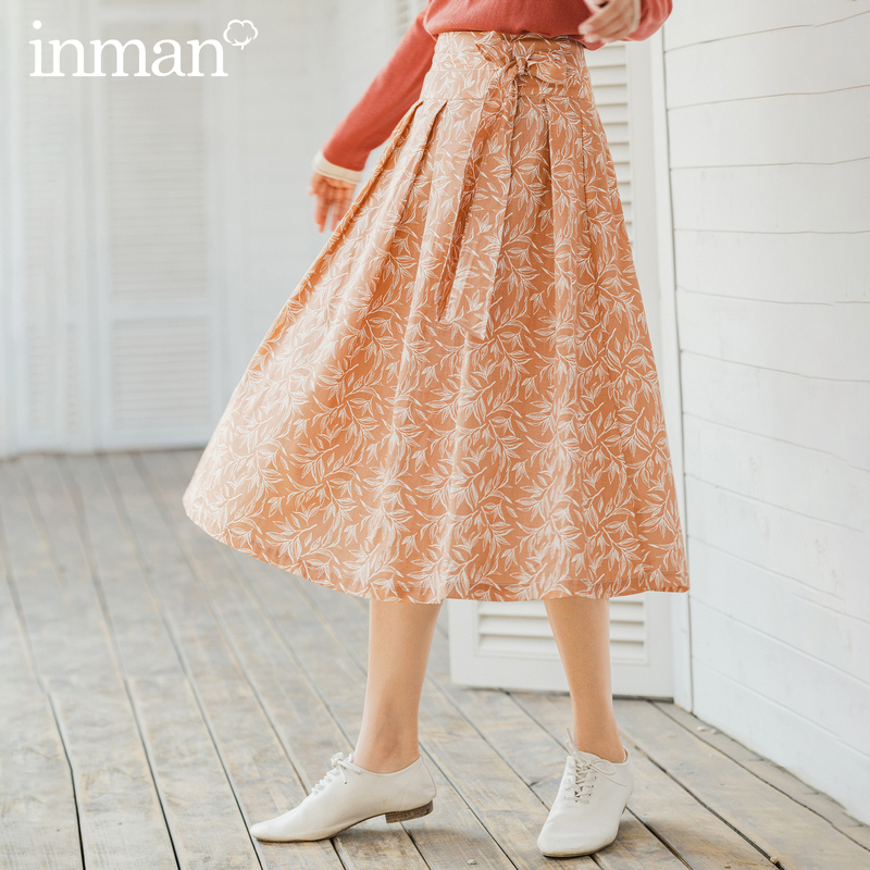 INMAN 2020 Spring New Arrival Literary Retro Style A Line Mid Calf Flower Print Women Skirt