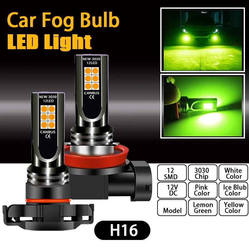 Uds bombilla LED de luz antiniebla coche H4 H7 H8 H11 H10 9145 H16 9006 HB4 PSX24W 2504 9005 HB3 PSX26W P13W Auto Rosa corriendo lámpara de la linterna