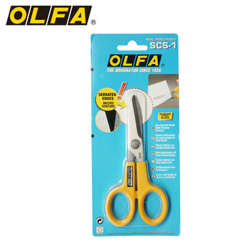 OLFA Europe imported from Japan, small non-slip, stainless steel serrated scissors SCS-1