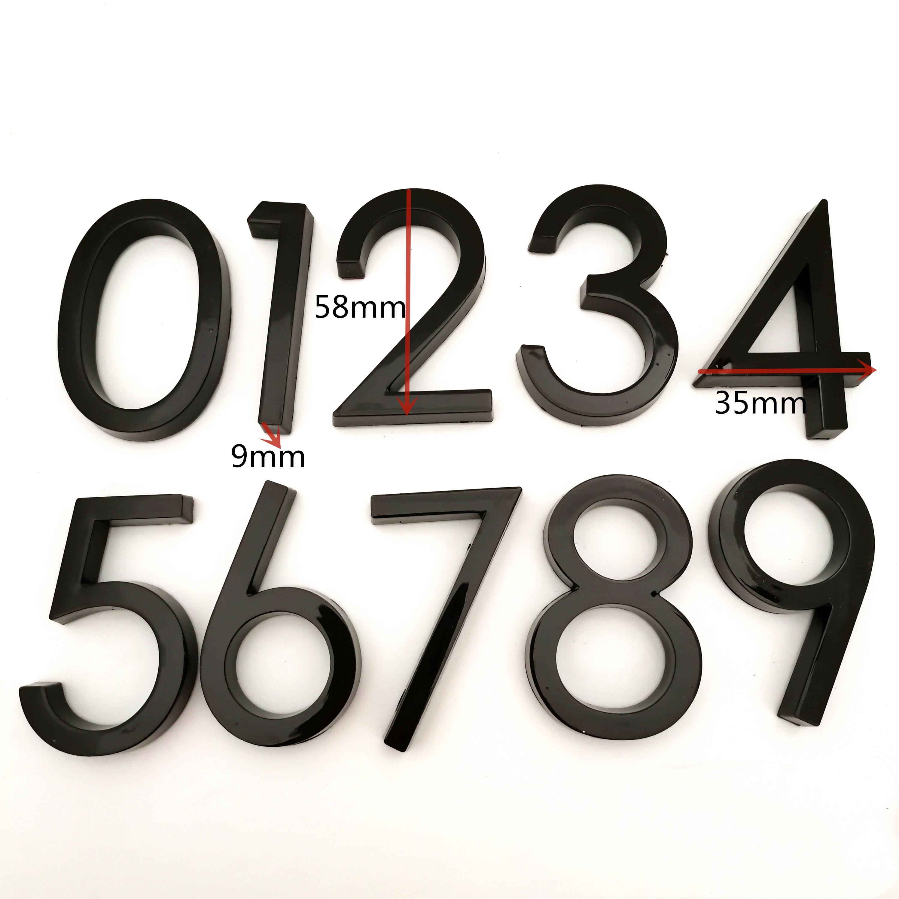 Endereço da porta dígitos 6cm preto número etiqueta 0 a 9 placa de plástico casa gaveta pltae assinar casamento decoração da casa placa da porta