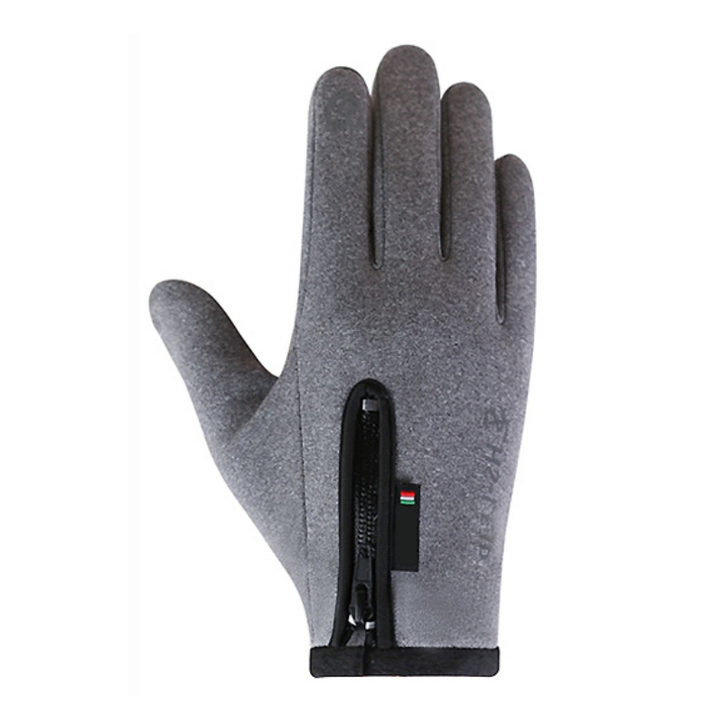 Ski Gloves Winter Ski Riding Touch Screen Non-slip Windproof Zipper Adjustable Warm Comfort Fleece Riding Full Finger Gloves
