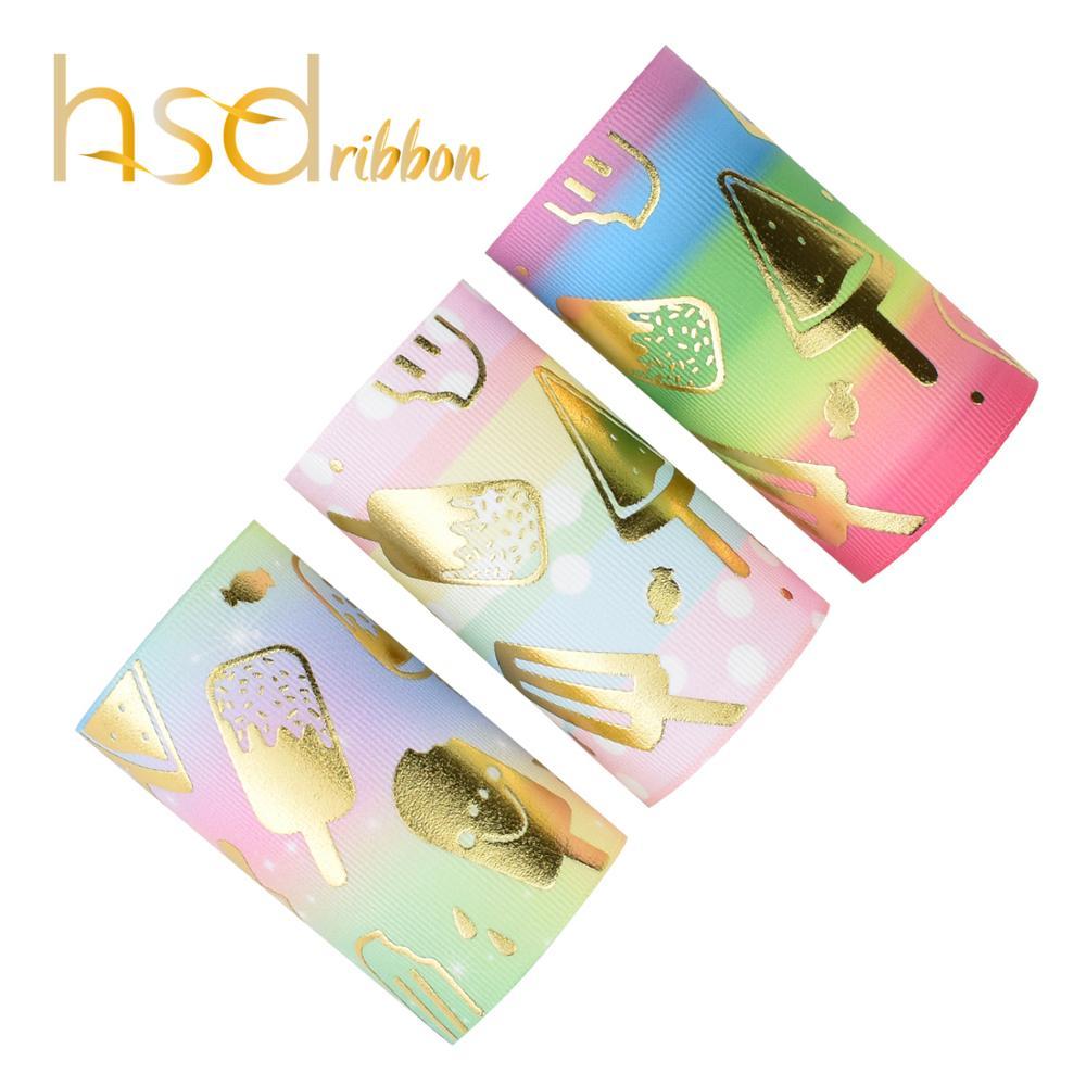 HSDRibbon 75MM 3 pouces Designer personnalisé glace feuille d'or imprimé sur ruban gros grain-in Rubans from Maison & Animalerie    1