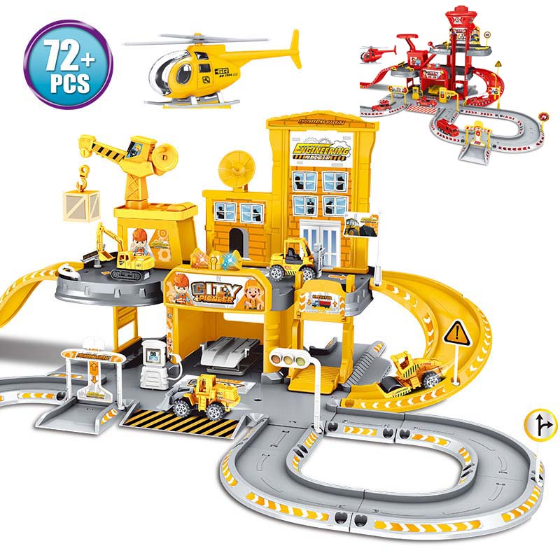 2019 Alloy Car City Police Station Railway Play Engineering Fire Truck Track Car DIY Model Building Kits Assembly Toys For Kids