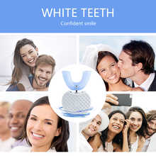 360 Degree Wave Brush Intelligent Automatic Sonic Lazy Electric Toothbrush USB Rechargeable Ultrasonic U Shape Blue Cold Light