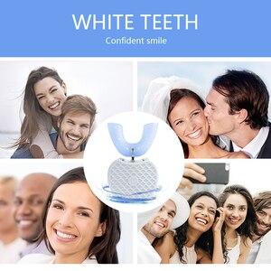 Image 3 - Умная автоматическая Зубная щетка 360 градусов, перезаряжаемая ультразвуковая зубная щетка U образной формы, синий холодный светильник