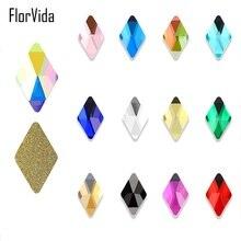 FlorVida 10pcs Glass Rhombus Rhinestone  6*10mm Flat Bottom Sparkly Nail Art Rhinestones for Nails 3D Decorations