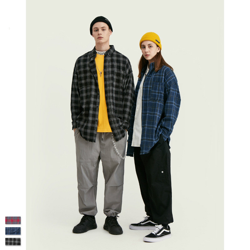 Men Spring Turn-down Collar Plaid Leisure Simple All-match Trendy Style Shirt Couple Loose Trendy Shirt Clothing