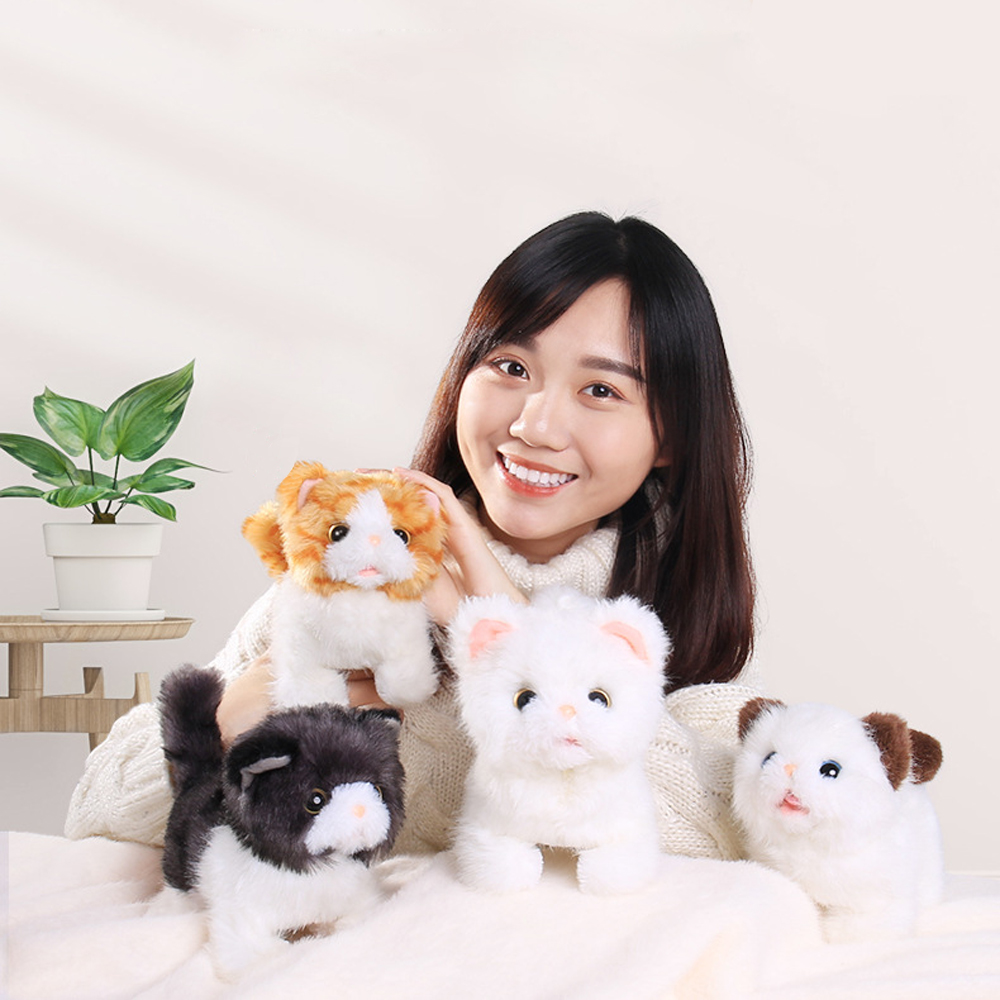 Kids Soft Electronic Pets Sound Control Robot Cats Stand Walk Electric Pets Cute Interactive Toys Cat Plush Baby Birthday Gift