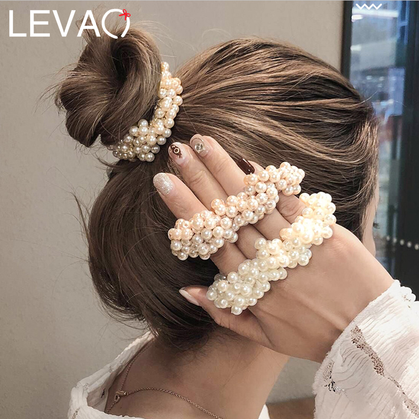 Levao 1PC Pearl Beaded Elastic Hair Bands For Girls Women Crystal Beads Rubber Scrunchies Ponytail Hair Rope Hair Accessories