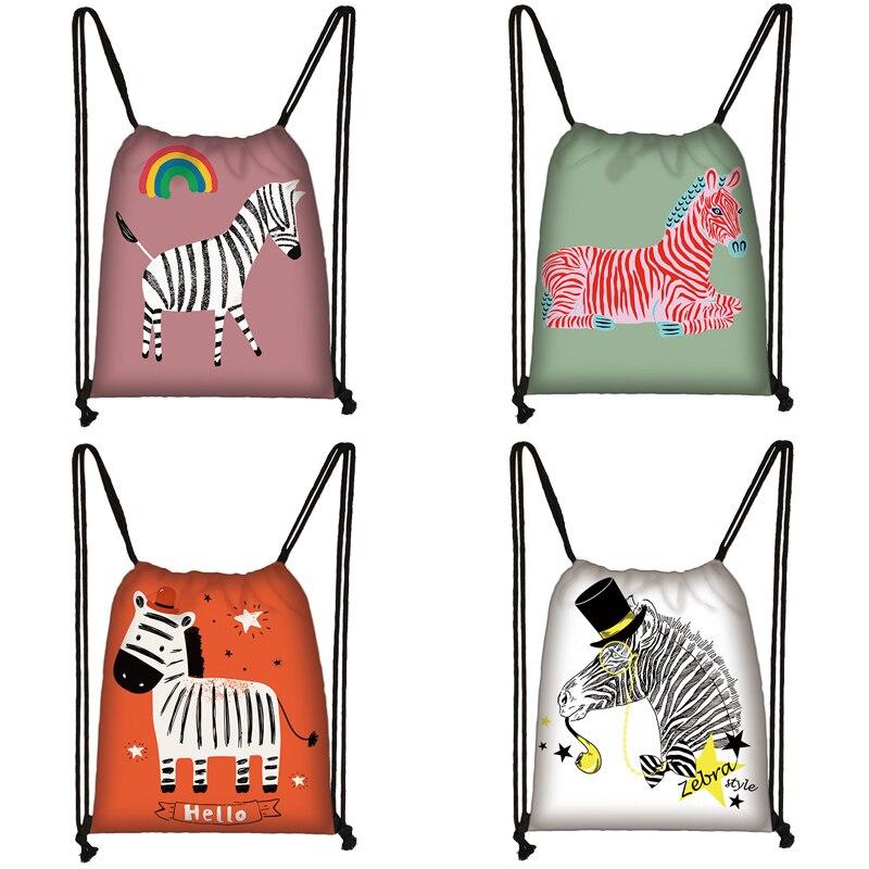 Cartoon Zebra  Print Drawstring Bag Women Travel Bag Teenager School Bag Brown Girl And Boy Backpack Fashion Female Storage Bags