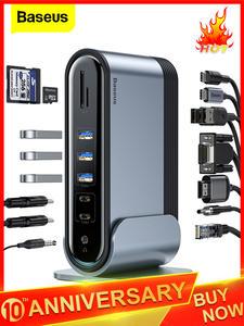 Baseus 17 в 1 USB C концентратор type C для мульти HDMI RJ45 VGA USB 3,0 2,0 с адаптером питания док-станция для MacBook Pro USB-C концентратор