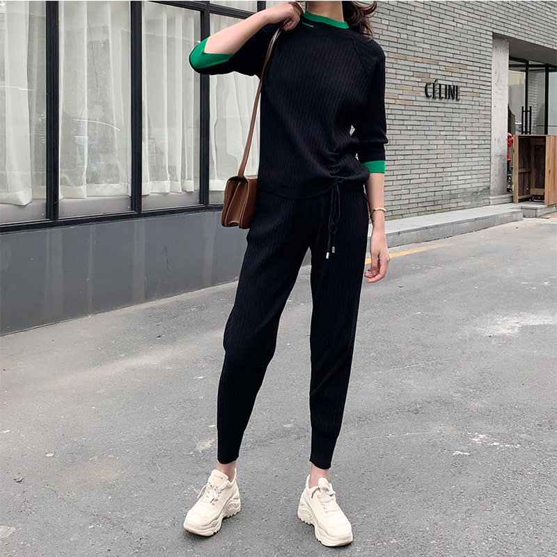 WOMEN'S Suit 2019 Ozhouzhan Autumn New Products Crew Neck Drawstring Sense Of Design Three-quarter-length Sleeve Knitted Casual