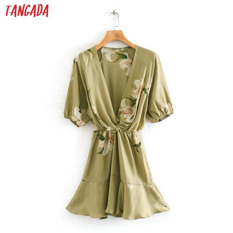Tangada Fashion Women Flowers Print Mini Dress V Neck Short Sleeve Ladies Vintage Short Dress Vestidos 2W08
