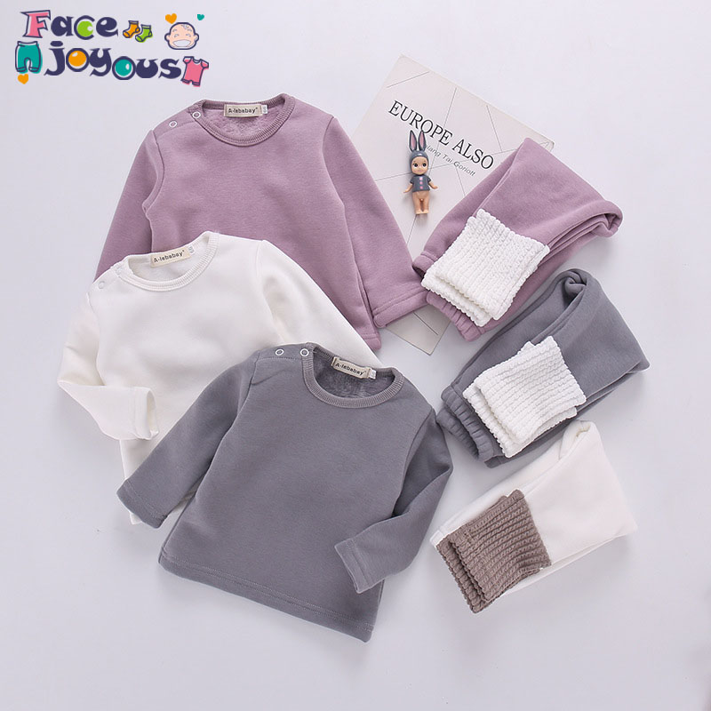 Toddler Girls Clothes Set Baby Boy Plus Velvet Pajamas Set Casual Outfit Children's Suit Tracksuit Infant Kids Clothing 0-3Y