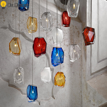 Modern Glass G4 Pendant Lights Colored Crystal Lamp Bedroom Living Room Office Exhibition Hall Hanging Luminaria