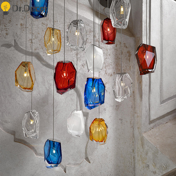 Modern Glass G4 Pendant Lights Colored Crystal Pendant Lamp Bedroom Living Room Office Exhibition Hall Hanging Lamp Luminaria