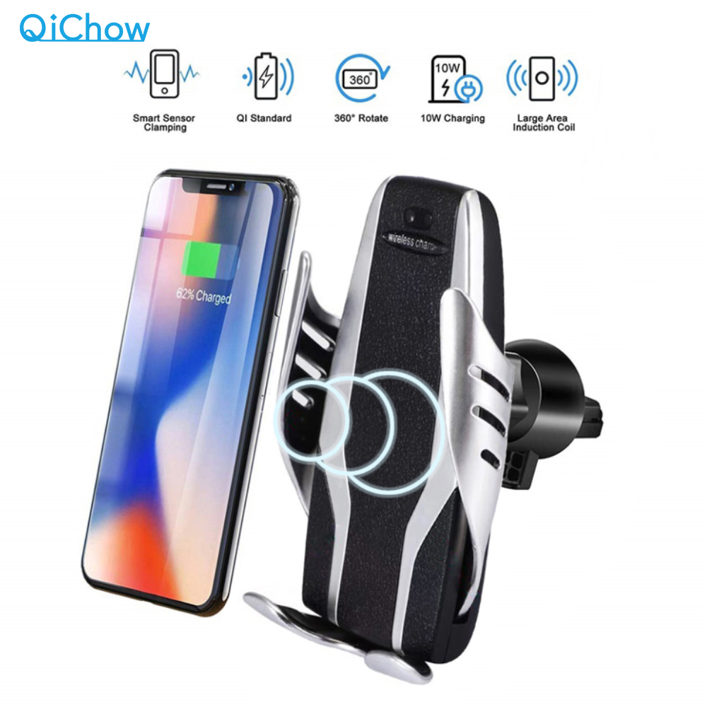Qi Automatic Clamping Car Phone Holder Fast 10W  Wireless Charging Car Charger Holder Mount Air Vent For IPhone X Max XR Samsung