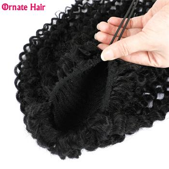 Ozdobny brazylijski włosy perwersyjne kręcone sznurkiem kucyk ludzki włos dla czarnych kobiet nie Remy koński ogon przedłużanie włosów średni stosunek tanie i dobre opinie Ornate Hair CN (pochodzenie) Nie remy włosy 100 g sztuka Tylko ciemniejszy kolor Na klipsy Realny kolor Brazylijskie włosy