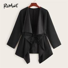 купить ROMWE Waterfall Collar Belted Asymmetrical Hem Jacket Coat Women Autumn Fall 2019 Clothing Casual Black Jacket Solid Outerwear по цене 846.05 рублей