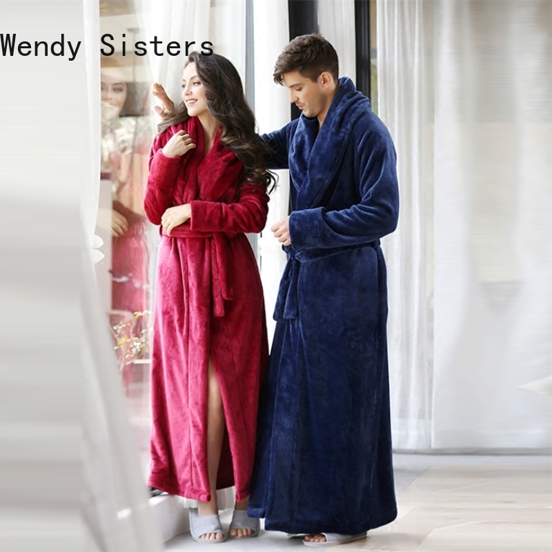 Luxury Brand Plus Size Winter Bathrobe for Men Women Soft Flannel Warm Dressing Gown Male Unique Lapel Fuzzy House Robes