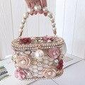 Luxus Hochzeit Kupplung Geldbörse Elegante Blume Perle Handtasche für Frauen Abend Tasche Strass Metall Hohl Partei Eimer Tasche ZD1636