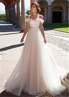 2019 New Off the Sleeve A Line Wedding Dresses Lace Up Beach Wedding Gowns Lace with Tulle Wedding Dress Boho vestido de noiva