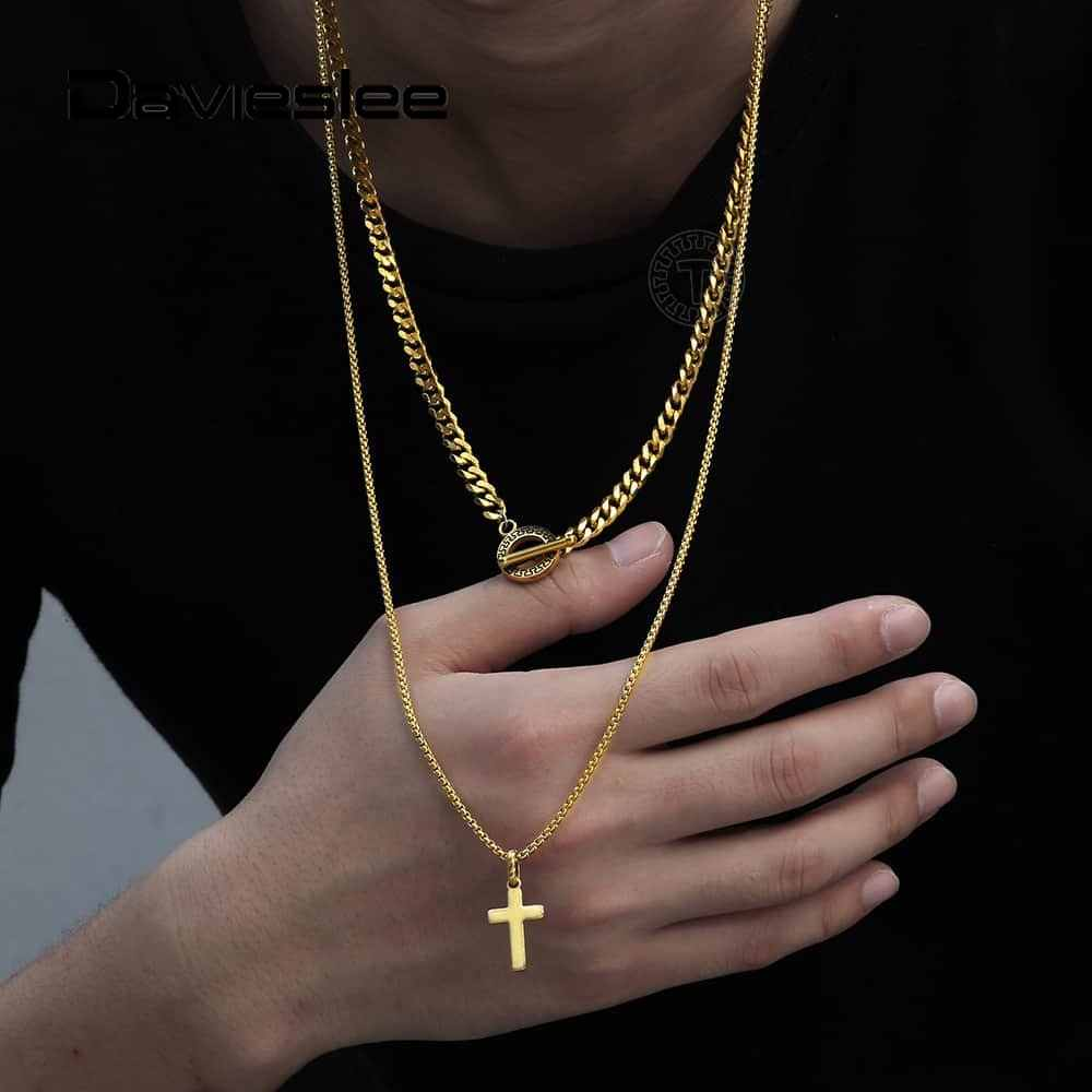 Men Punk Wire Cross Pendant Stainless Steel Collar Necklace Gift for Boyfriend