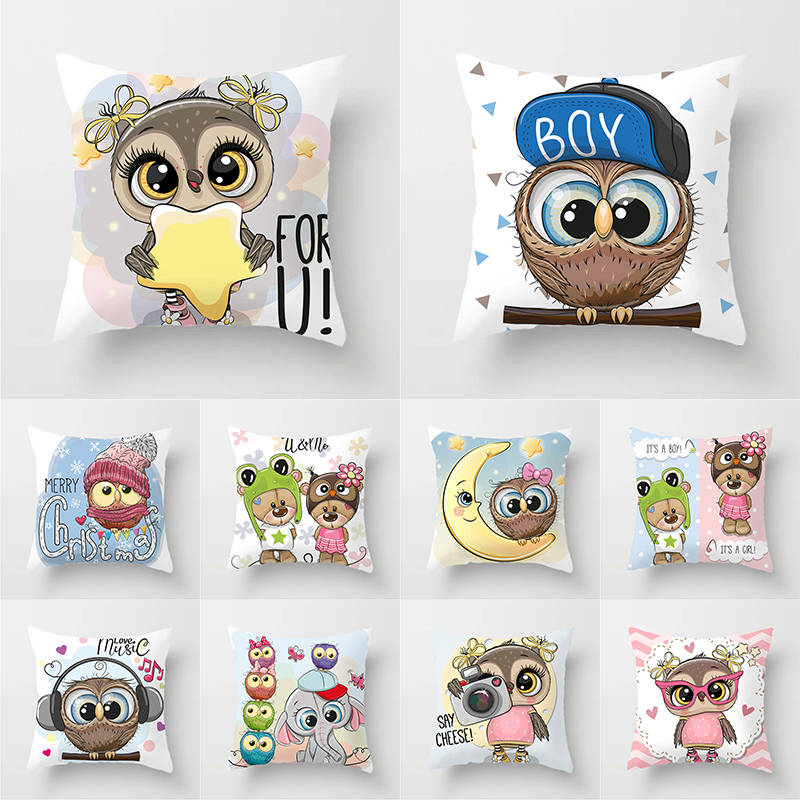 Owl Decoration Cushion Cover Polyester Throw Pillow Case Cover Decoration Pillowcases Decorative Pillows Cover TP136