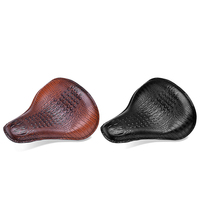 Motorcycle Retro Style Brown/Black Crocodile Leather Solo Seat for Harley Custom Chopper Bobber Leather Saddle Seat