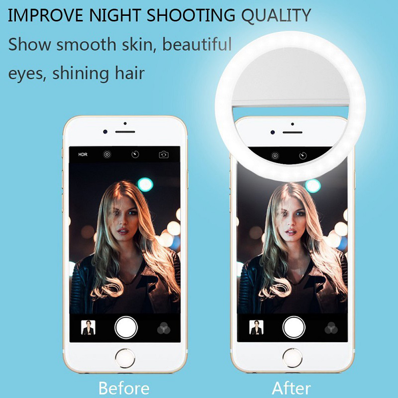Clip Led Selfie Lamp Ring For Phone Camera Portable Clip-On Lamp Night Darkness Selfie Enhancing Fill Lights For Iphone Phone