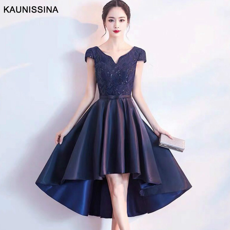 KAUNISSINA New Korean Cocktail Dress Bridal Appliques Short Sleeve Asymmetrical Formal Prom Party GOWNS A Line Cocktail Dress
