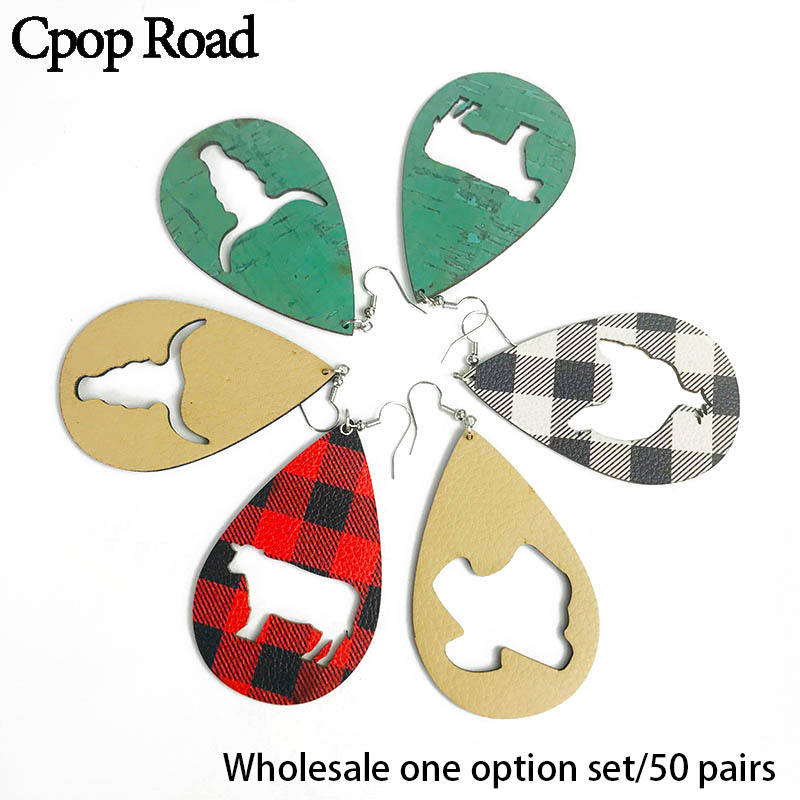 Cpop Creative Hollow Animal Wood PU Leather Earrings Vintage Lattice Water Drop Earring Jewelry Women Accessories Gift Wholesale