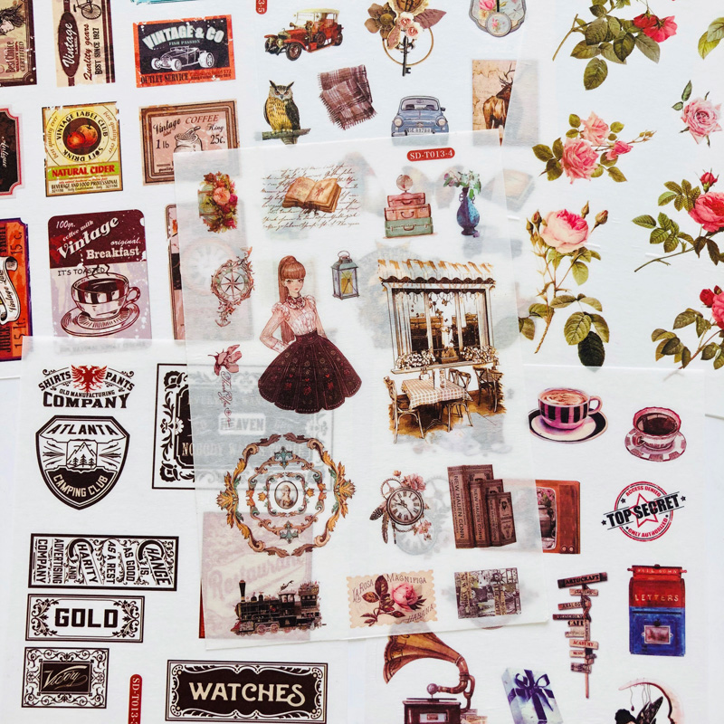 6 Sheets Vintage Old Times & Flowers Washi Paper Sticker Decorative Adhesive Stick Label
