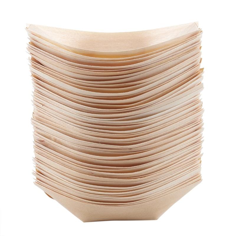50 пищевых мисок для пальцев, биоразлагаемая древесина 11 см x 6,5 см