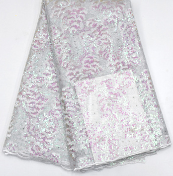 2019 Latest Sexy French Embroidered Tulle Lace Africa Sequins Mesh Lace Fabric Sewing for Party Wedding Dress Top Quality 5yards