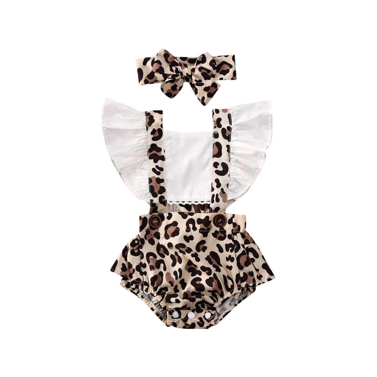 0-24M Bayi Gadis Bunga Kerut-kerut Baju Monyet Bayi Baru Lahir Backless Jumpsuit Headband Girls Sunsuit Pakaian 2Pcs Bayi Musim Panas pakaian
